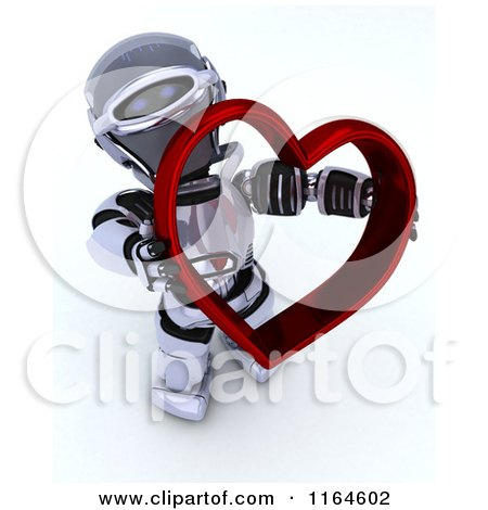 Clipart of a 3d Robot Holding a Red Valentine Heart - Royalty Free CGI Illustration by KJ Pargeter