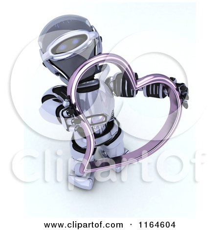 Clipart of a 3d Robot Holding a Pink Valentine Heart - Royalty Free CGI Illustration by KJ Pargeter