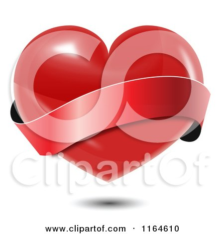 Clipart of a Shiny Red Heart with a Wavy Red Banner and Shadow - Royalty Free Vector Illustration by vectorace
