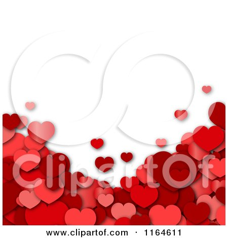Clipart of a Background with 3d Red Hearts Under White Copyspace - Royalty Free Vector Illustration by vectorace
