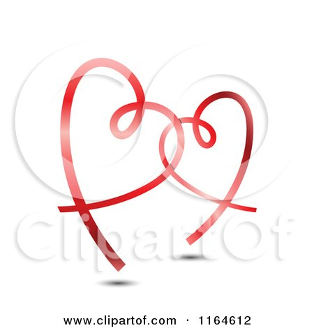 Clipart of Two Shiny Red Ribbon Hearts Entwined - Royalty Free Vector Illustration by vectorace