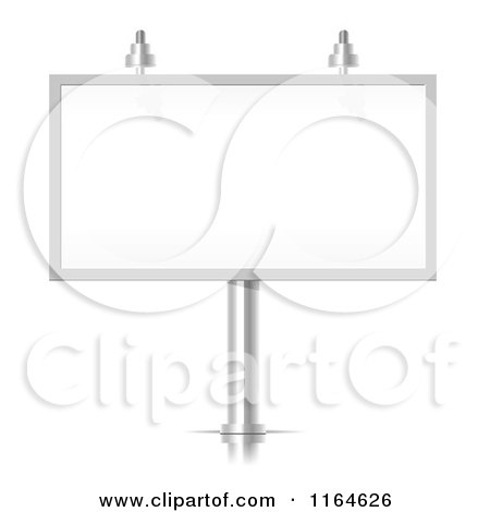 Clipart of a 3d Silver Billboard Sign Frame with Lights - Royalty Free Vector Illustration by vectorace