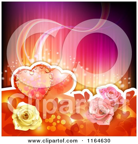 Clipart of a Wedding or Valentines Day Background with Hearts and Roses with Copyspace - Royalty Free Vector Illustration by merlinul