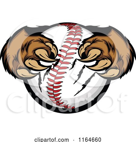 Cartoon of Bear Paws Clawing a Baseball - Royalty Free Vector Clipart by Chromaco