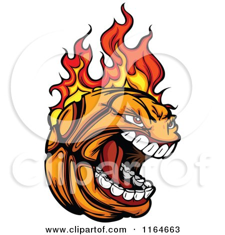 Cartoon of a Screaming and Flaming Basketball Mascot - Royalty Free Vector Clipart by Chromaco