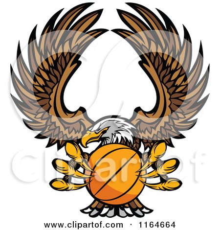Cartoon of a Bald Eagle Flying with a Basketball in Its Talons - Royalty Free Vector Clipart by Chromaco