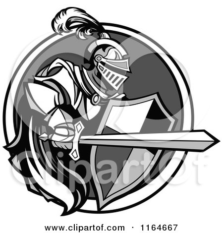 Cartoon of a Grayscale Knight with a Cape Shield and Sword in a Circle - Royalty Free Vector Clipart by Chromaco
