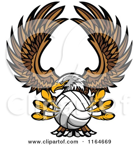 Cartoon of a Bald Eagle Flying with a Volleyball in Its Talons - Royalty Free Vector Clipart by Chromaco