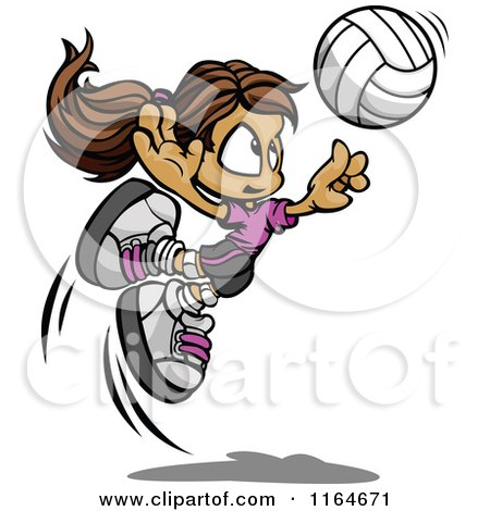 Cartoon of a Volleyball Girl Leaping to Hit the Ball - Royalty Free Vector Clipart by Chromaco