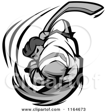 Cartoon of a Grayscale Hockey Player Swinging - Royalty Free Vector Clipart by Chromaco