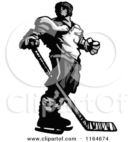 Cartoon of a Grayscale Hockey Player Looking over His Shoulder - Royalty Free Vector Clipart by Chromaco