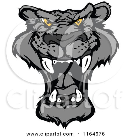 Cartoon of a Roaring Black Panther Face - Royalty Free Vector Clipart by Chromaco