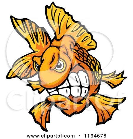 Cartoon of an Aggressive Goldfish - Royalty Free Vector Clipart by Chromaco