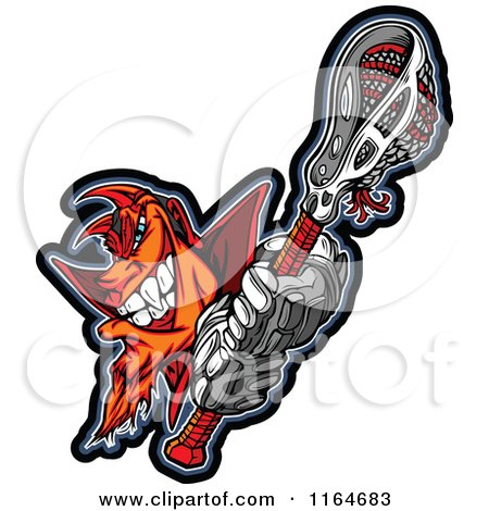 Cartoon of a Grinning Orange and Red Devil with a Lacrosse Stick - Royalty Free Vector Clipart by Chromaco