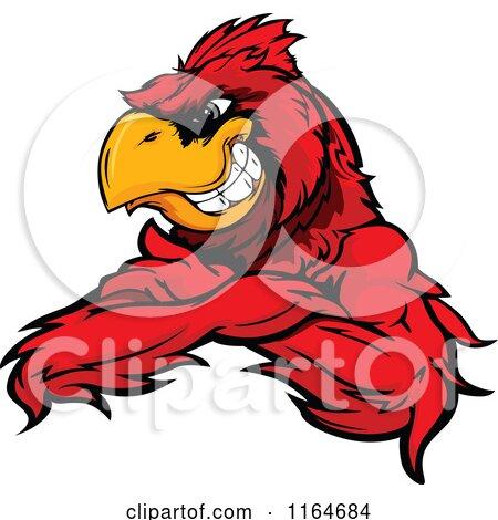 Cartoon Of A Grinning Red Cardinal Bird With Folded Arms