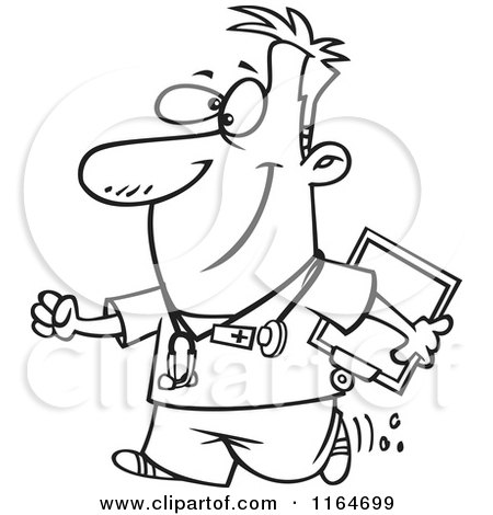 Cartoon Of An Outlined Happy Male Nurse Carrying A Clipboard