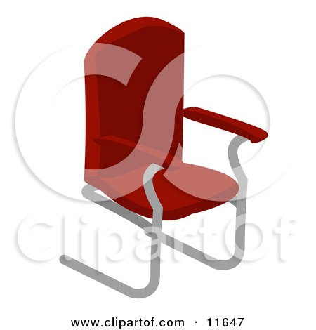 Clipart Illustration Of A Wheeled Computer Desk Chair With Arms In