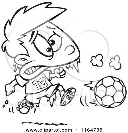 Cartoon of an Outlined Frozen Boy Playing Soccer - Royalty Free Vector Clipart by toonaday