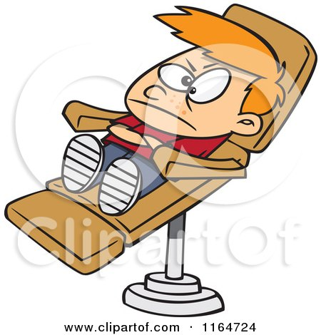 Cartoon of a Stubborn Boy in a Dentist Chair - Royalty Free Vector Clipart by toonaday