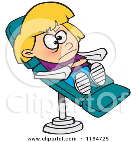 Cartoon of a Stubborn Girl in a Dentist Chair - Royalty Free Vector Clipart by toonaday
