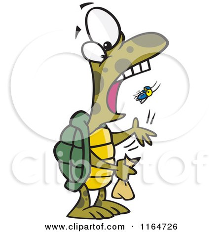 Cartoon of a Tortoise Popping a Fly into His Mouth - Royalty Free Vector Clipart by toonaday