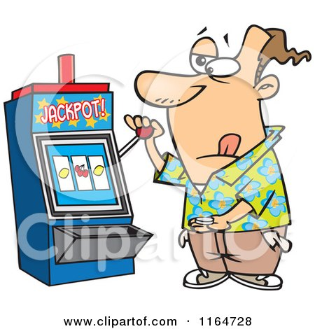 Cartoon of a Man at a Casino Slot Machine - Royalty Free Vector Clipart by toonaday