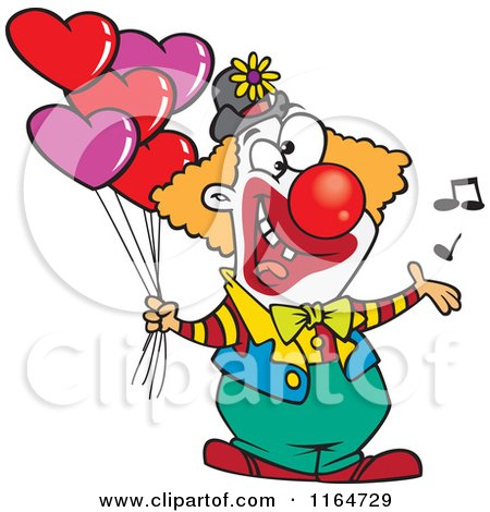 Cartoon of a Clown Singing and Holding Valentines Day Balloons - Royalty Free Vector Clipart by toonaday