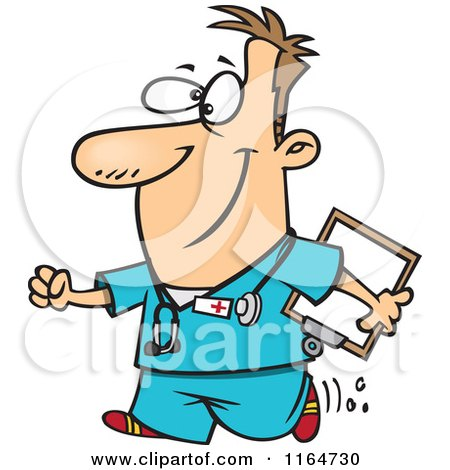 Cartoon of a Happy Male Nurse Carrying a Clipboard - Royalty Free Vector Clipart by Ron Leishman