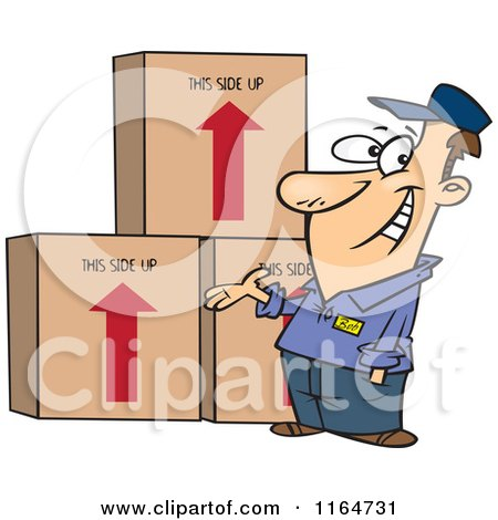 Cartoon of a Happy Male Mover Presenting Boxes - Royalty Free Vector Clipart by toonaday