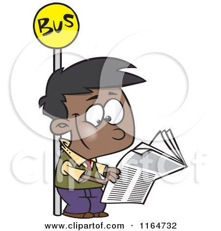 Cartoon of a Happy Black Boy Reading a Newspaper at a Bus Stop - Royalty Free Vector Clipart by toonaday