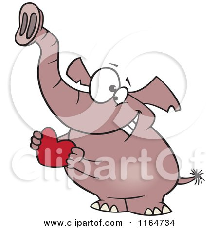 Cartoon of a Sweet Elephant Holding a Red Valentine Heart - Royalty Free Vector Clipart by toonaday