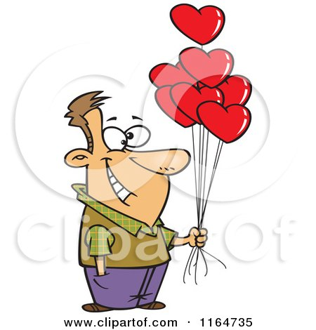 Cartoon of a Happy Man Holding out Valentine Heart Balloons - Royalty Free Vector Clipart by toonaday