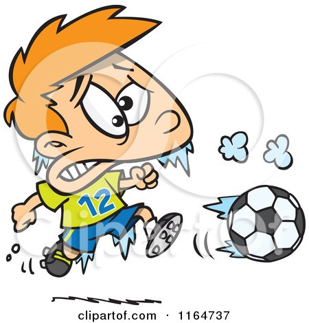 Cartoon of a Frozen Boy Playing Soccer - Royalty Free Vector Clipart by toonaday