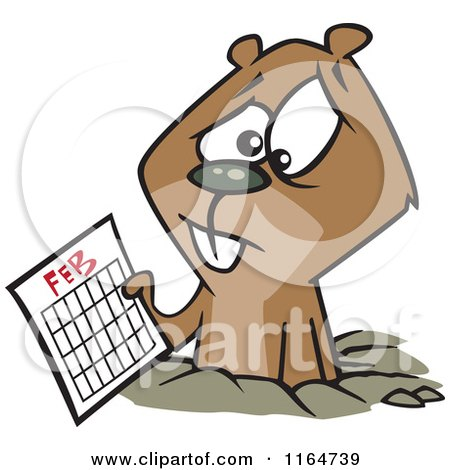 Clipart of a Cartoon Worried Groundhog Wearing a Scarf - Royalty ...