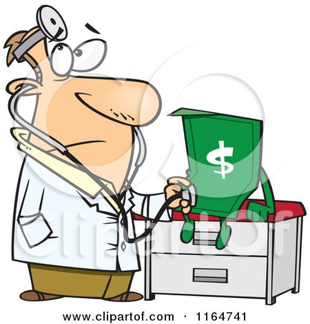 Cartoon of a Male Doctor Diagnosing the Dollar - Royalty Free Vector Clipart by toonaday
