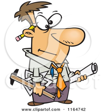 Cartoon of a Male Engineer with Blueprints and Tools - Royalty Free Vector Clipart by toonaday