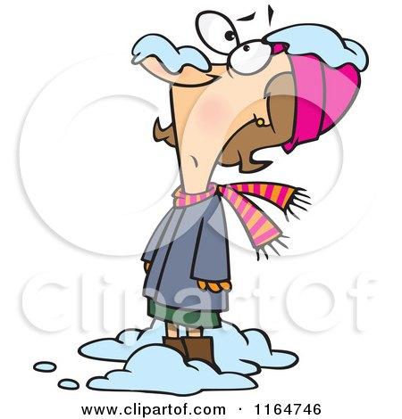 Cartoon of a Nervous Woman with Snow Dropping on Her Nose - Royalty Free Vector Clipart by toonaday