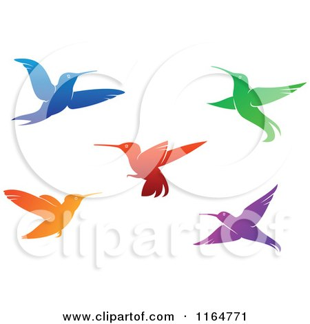 Clipart of Colorful Hummingbirds 2 - Royalty Free Vector Illustration by Vector Tradition SM