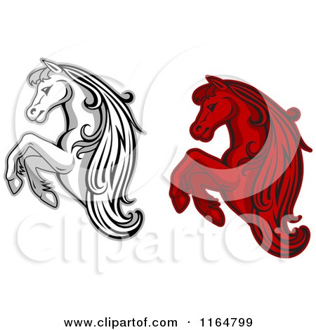 Clipart of Red and Grayscale Rearing Horses - Royalty Free Vector Illustration by Vector Tradition SM