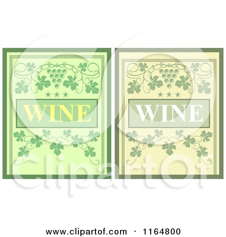 Clipart of Green Wine Menu Covers - Royalty Free Vector Illustration by Vector Tradition SM