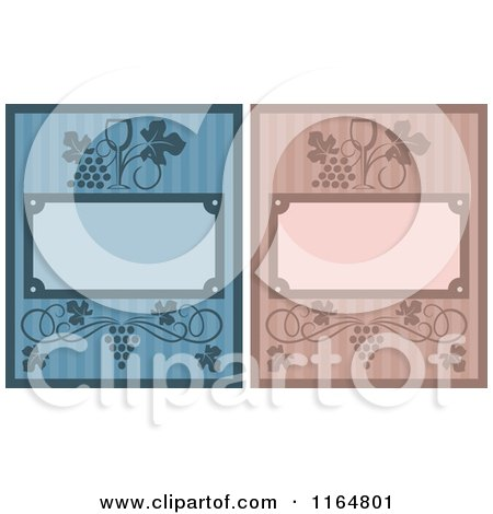 Clipart of Striped Wine Menu Covers - Royalty Free Vector Illustration by Vector Tradition SM