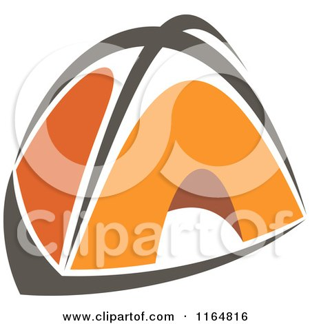 Clipart of an Orange Camping Tent - Royalty Free Vector Illustration by Vector Tradition SM