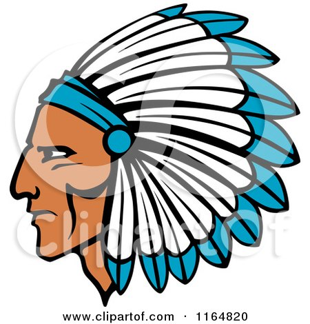 Clipart of a Native American Brave with a Blue and White Feather Headdress - Royalty Free Vector Illustration by Vector Tradition SM