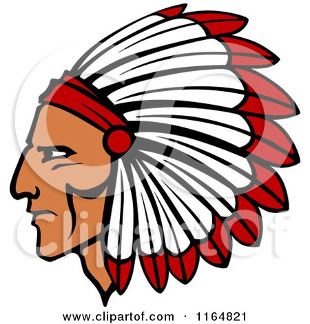 Clipart of a Native American Brave with a Red and White Feather Headdress - Royalty Free Vector Illustration by Vector Tradition SM