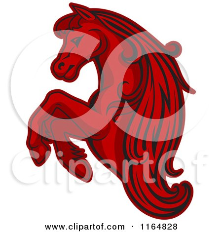 Clipart of a Red Rearing Horse - Royalty Free Vector Illustration by Vector Tradition SM
