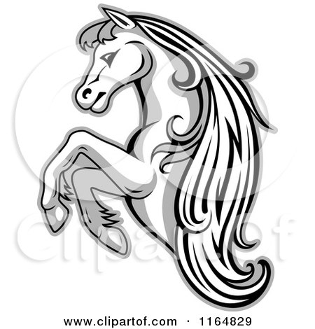 Clipart of a Grayscale Rearing Horse - Royalty Free Vector Illustration by Vector Tradition SM