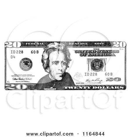 Five Dollar Bill Black And White - More information