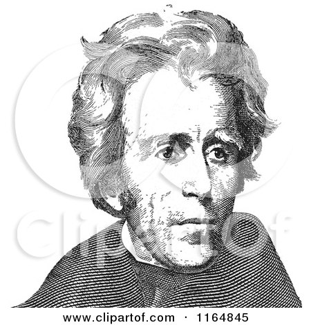Clipart of a Black and White Portrait of Andrew Jackson - Royalty Free Vector Illustration by Andrei Marincas