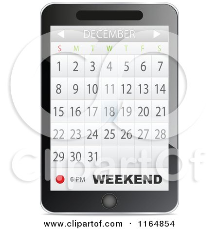 Clipart of a Touch Phone with a Calendar App Open - Royalty Free Vector Illustration by Andrei Marincas