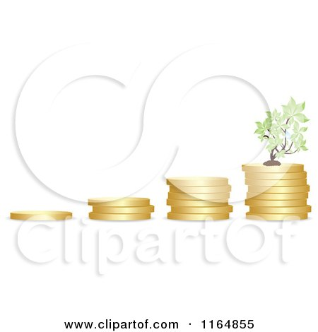 Clipart of a Graph of Piled Coins with a Tree - Royalty Free Vector Illustration by Andrei Marincas